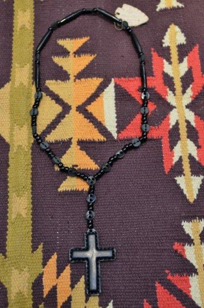 画像1: 【Rooster King&co./ルースターキング】 Black Cross Rosario Necklace ブラッククロス ロザリオネックレス
