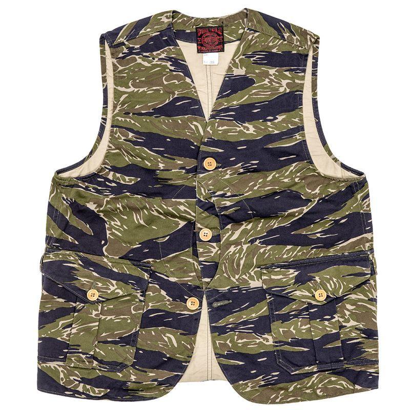 画像1: 50%OFF【Workers/ワーカーズ】  Tiger Camo Cruiser Vest タイガーカモクルーザーベスト (1)