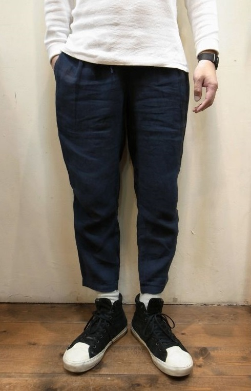 画像1: 【Badhiya/バディーヤ】 1 Tuck Pants linen リネンクロップドパンツ (1)