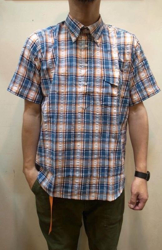 画像1: 【THE BAGGY/バギー】 シアサッカーマドラスチェック プルオーバー BD半袖シャツ (1)