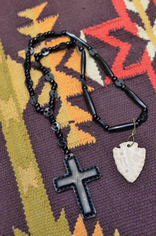 画像1: 【Rooster King&co./ルースターキング】 Black Cross Rosario Necklace ブラッククロス ロザリオネックレス (1)