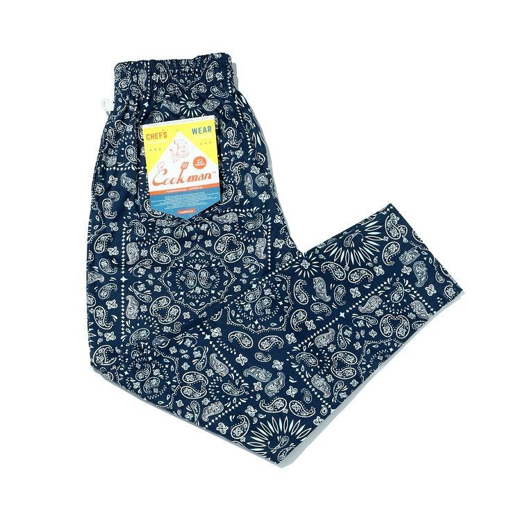 画像1: 【Cookman】 Chef Pants Paisley 「NAVY」 (1)