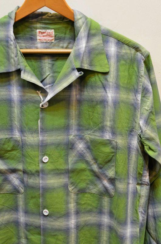 画像1: 【PENNY`S/ペニーズ by サニースポーツ】 オンブレチェック オープンカラーシャツ (1)