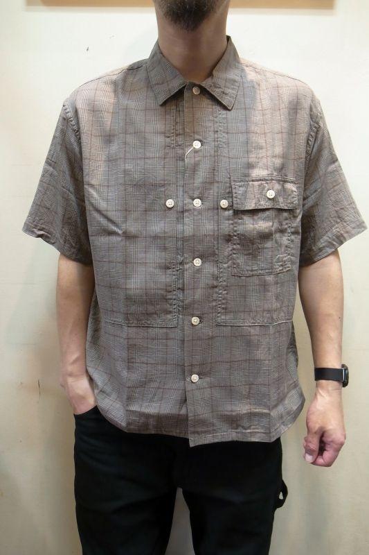 画像1: 【H.UNIT/エイチユニット】 Voil check triple pocket short sleeve shirt トリプルポケット半袖シャツ (1)
