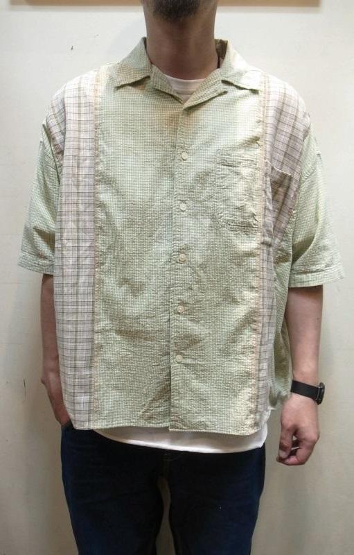 画像1: 【Remake by K】 リビルド 半袖ドッキングシャツ (1)