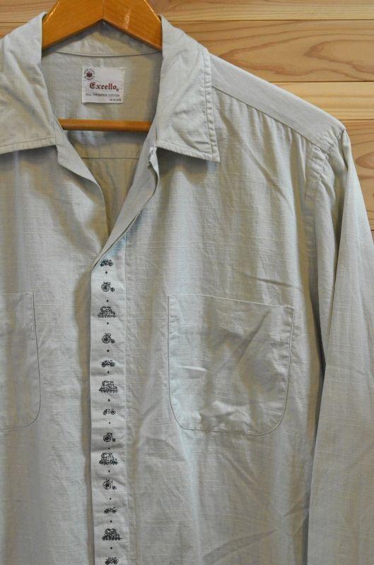 画像1: ビンテージ オープンカラーシャツ(コットン) (1)