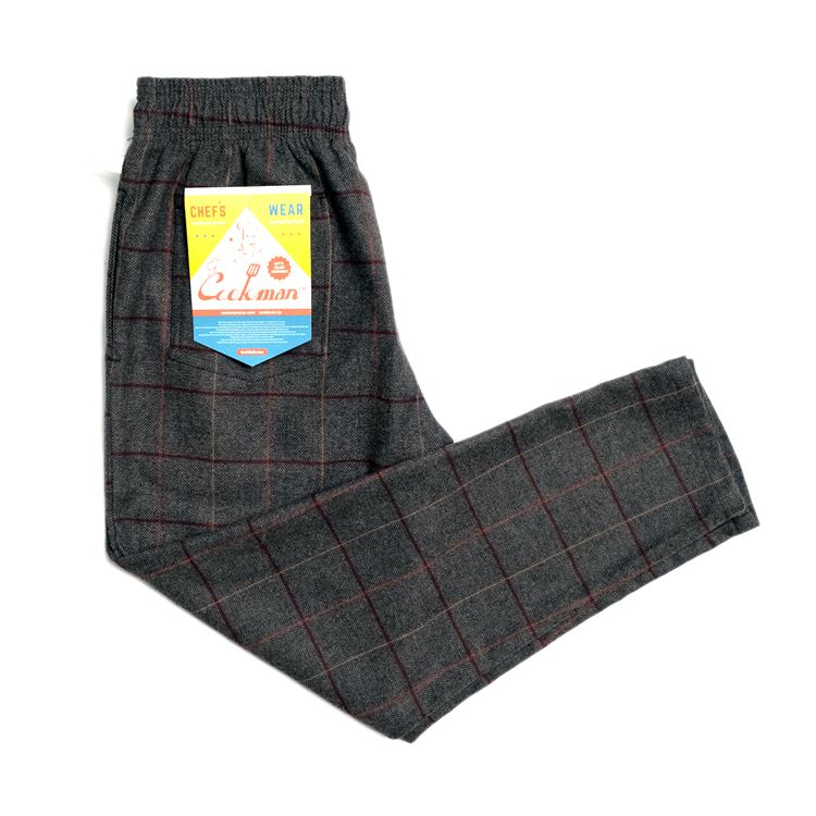 画像1: 【Cookman】 Chef Pants シェフパンツ 「Wool Mix Check」 (1)